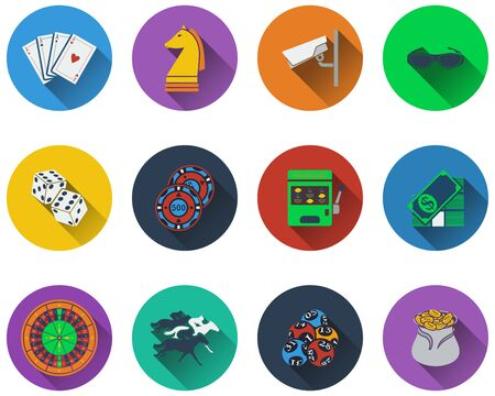 casino machine: Set of casino icons in flat design
