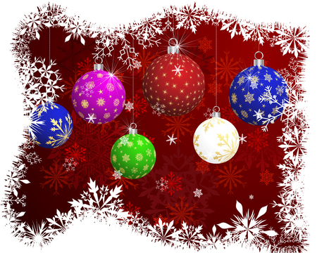 color balls: Christmas (New Year) card  with color balls and snowflakes. Illustration