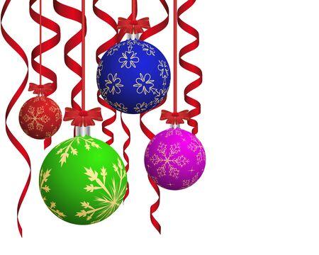 moños navideños: Bolas de Navidad con cintas rojas.