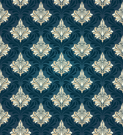 seamless damask: Colorful  seamless damask ornate  pattern