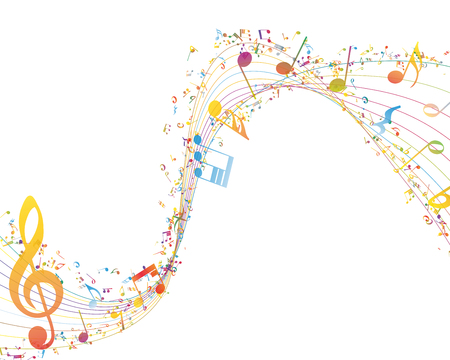in a row: Musical Key with notes row. Illustration with transparency.
