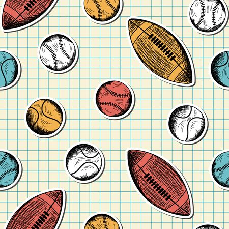 copybook: Seamless pattern with hand drawn different sport balls on checkered copybook background