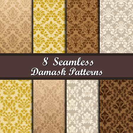 8 ダマスク シームレス パターン デザインのセット  イラスト・ベクター素材