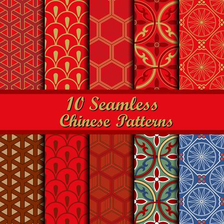 Set of Ten Oriental Geometrical Seamless Patterns. 일러스트