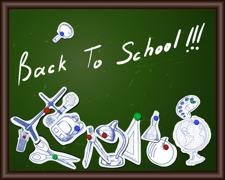 blackboard cartoon: Blackboard with educational symbols cut from notebook paper Illustration