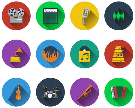 violin player: Set of musical icons in flat design