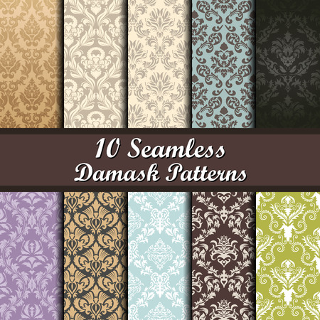 Set of Ten Damask Seamless Patterns design Vectores