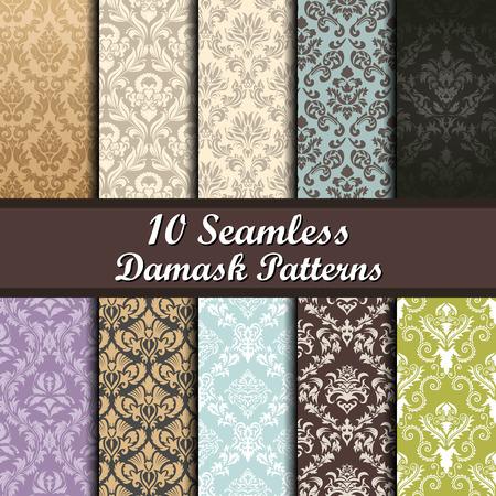 Set of Ten Damask Seamless Patterns design Illustration
