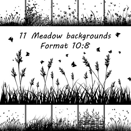 black and white image drawing: Set of Eleven Meadow backgrounds design with butterflies.