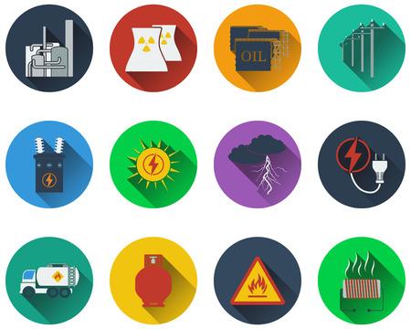 boiler: Set of energy icons in flat design Illustration