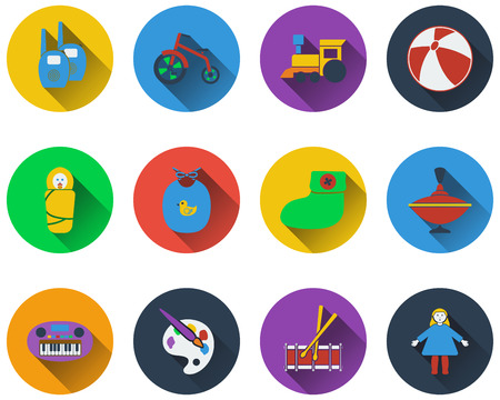 bootees: Set of baby icons  in flat design
