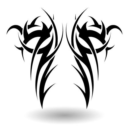 Dibujado a mano tatuaje tribal en forma de alas Ilustración de vector