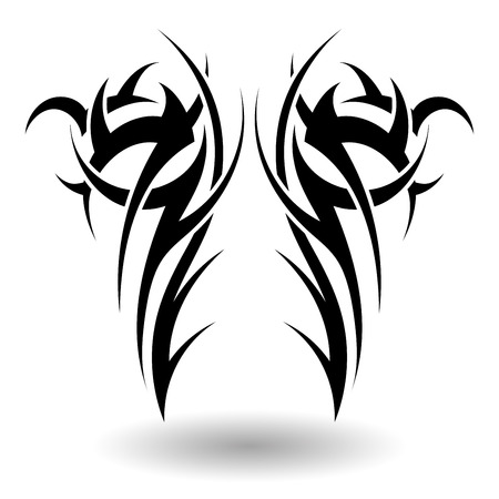 flames background: Hand Drawn Tribal Tattoo in Wings Shape