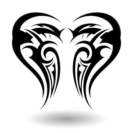 butterfly tattoo design: Hand Drawn Tribal Tattoo in Wings Shape