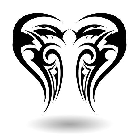 tribal wings: Hand Drawn Tribal Tattoo in Wings Shape