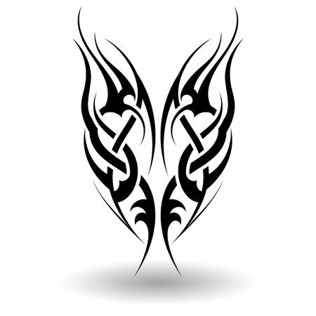 手が翼形で部族の入れ墨を描いた