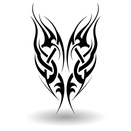 Hand Drawn Tribal Tattoo in Wings Shape