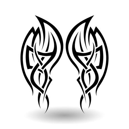 Hand Drawn Tatouage tribal dans Ailes Forme Vecteurs