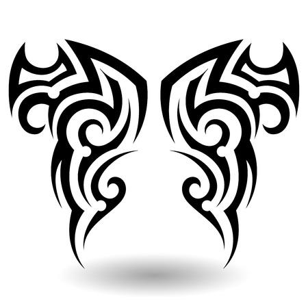 celtic tattoo: Hand Drawn Tribal Tattoo in Wings Shape
