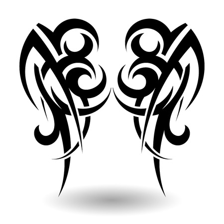 DESIGN: Hand Drawn Tribal Tattoo in Wings Shape