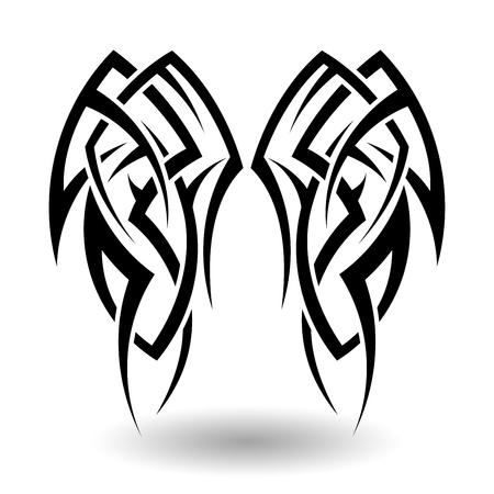 tatouage: Hand Drawn Tatouage tribal dans Ailes Forme