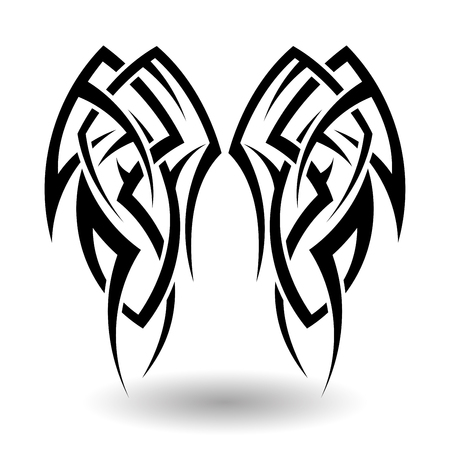 maori: Hand Drawn Tribal Tattoo in Wings Shape