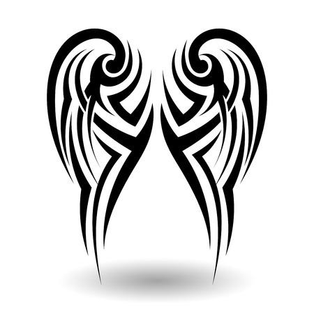 Hand Drawn Tatouage tribal dans Ailes Forme Banque d'images - 43950588