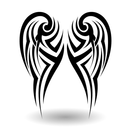 Hand Getrokken Tribal Tattoo Wings in Shape Stock Illustratie