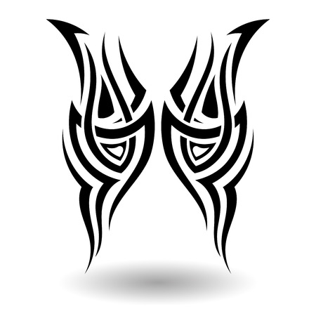hand drawn wings: Hand Drawn Tribal Tattoo in Wings Shape