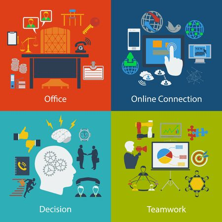 business communication: Set of Business, Communication, Teamwork  designs.