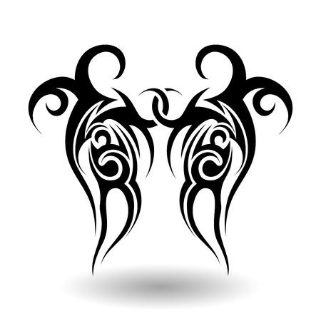 Hand Drawn Tatouage tribal dans Ailes Forme