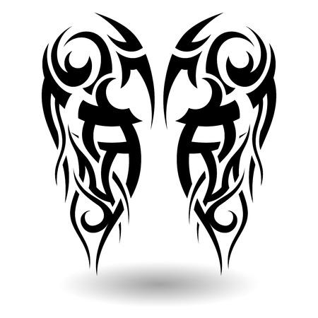 design tattoo: Hand Drawn Tribal Tattoo in Wings Shape