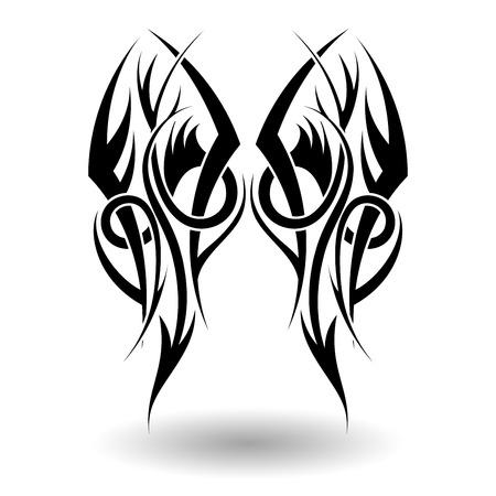 maories: Dibujado a mano tatuaje tribal en forma de alas