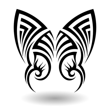 ornamental design: Hand Drawn Tribal Tattoo in Wings Shape