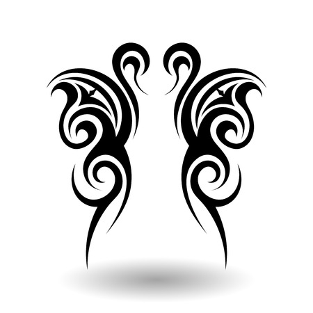 Hand Getrokken Tribal Tattoo Wings in Shape Stockfoto - 43950740