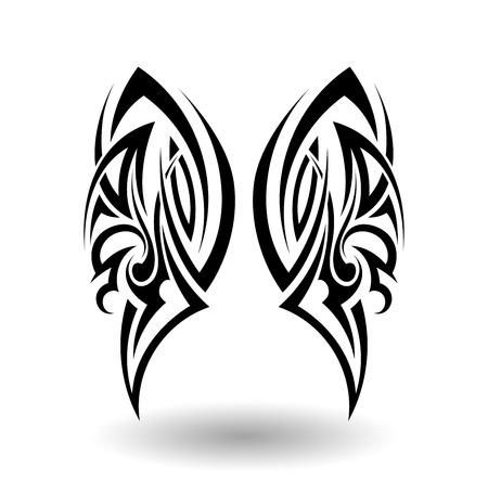 silhouette papillon: Hand Drawn Tatouage tribal dans Ailes Forme