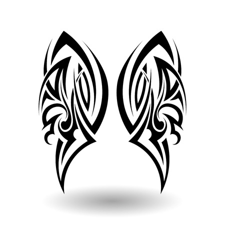 black butterfly: Hand Drawn Tribal Tattoo in Wings Shape