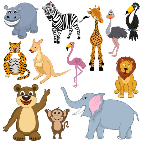Set of 12 Cartoon Animals. Ready For Use in Zoo Theme.