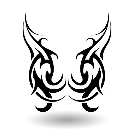 Hand Getrokken Tribal Tattoo Wings in Shape Stock Illustratie