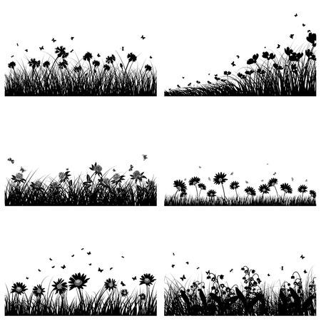 silhouette papillon: Ensemble de 6 Prairie, Fond de fleurs et de papillons.
