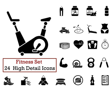 health and fitness: Set of 24 Fitness Icons in Black Color. Illustration