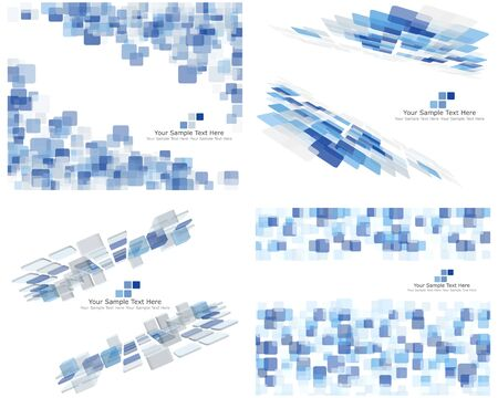 blue border: Set of 4 Checkered Abstract Backgrounds. Blue color. Illustration