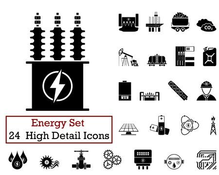 turbina: Conjunto de 24 iconos de la energía en Color Negro. Vectores