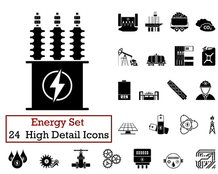 turbine: Set of 24 Energy Icons in Black Color.