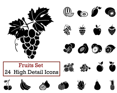Set of 24 Fruits Icons in Black Color. Illustration