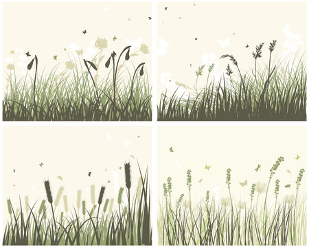 Set of 4 Meadow Backgrounds With Flowers and Butterflies.