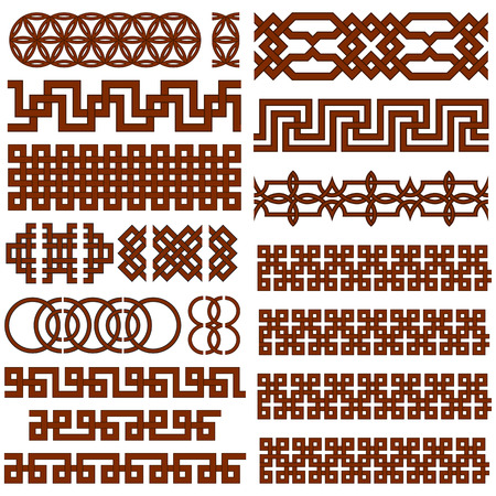 Set of 17 Oriental Geometrical Seamless Borders. Suitable for  Creating Pattern Brushes. 向量圖像