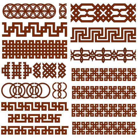 Set van 17 Oriental Geometrische Naadloze Borders. Geschikt voor het creëren Pattern Borstels.