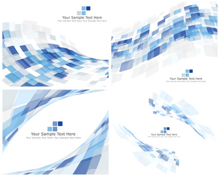 Set of 4 Checkered Abstract Backgrounds. Blue color. Illustration