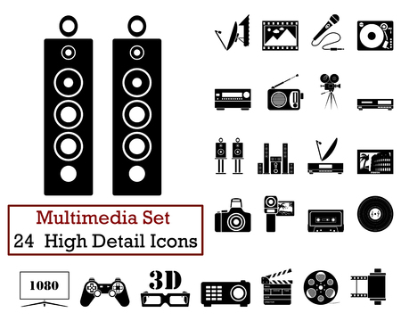 communication industry: Set of 24 Multimedia Icons in Black Color.